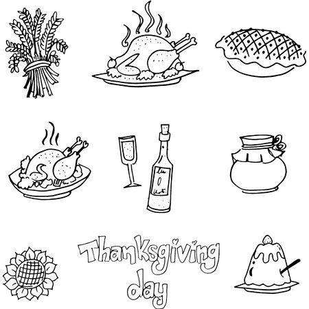 chikens: Doodle of Thanksgiving element food