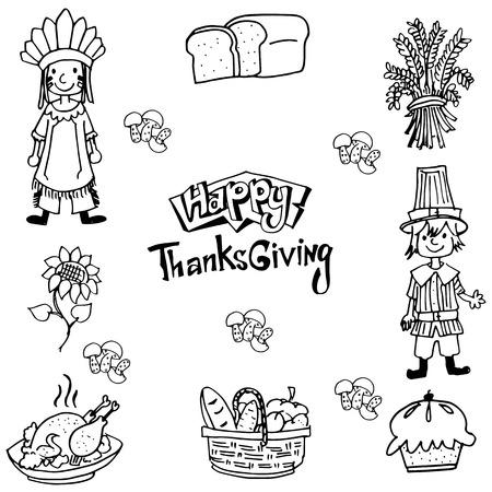 chikens: Hand draw Thanksgiving element in doodle illustration Illustration