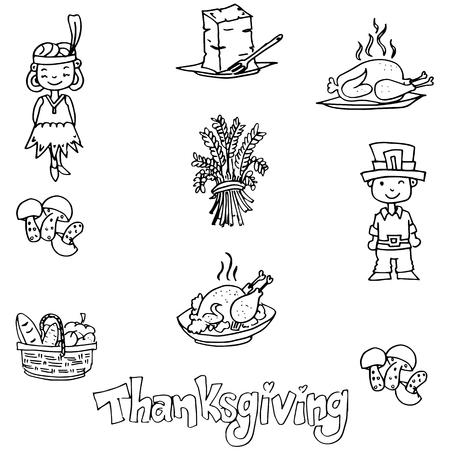 chikens: Thanksgiving in dooodle food party vector illustration