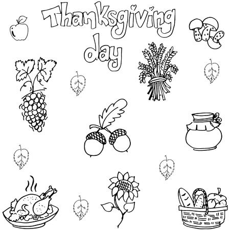 chikens: Doodle of element Thanksgiving flat vector art