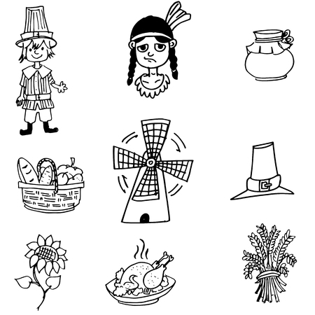 chikens: Thanksgiving object in doodle set vector art