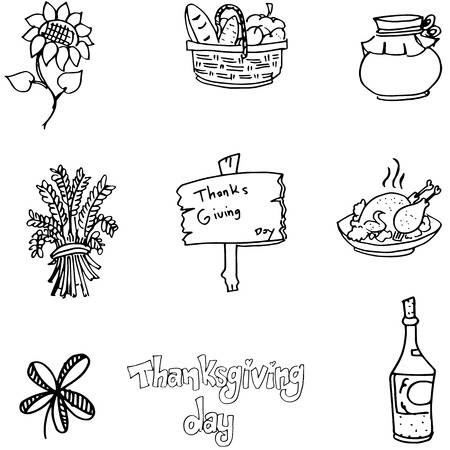 chikens: Flat doodle of Thanksgiving vector on white backgrounds Illustration