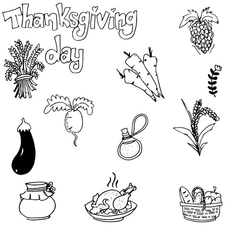 chikens: Doodle of vegetable thanksgiving with hand draw Illustration