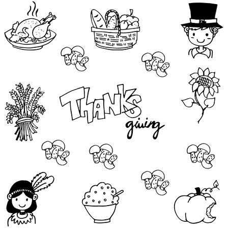chikens: Thanksgiving doodle vector art on white backgrounds Illustration