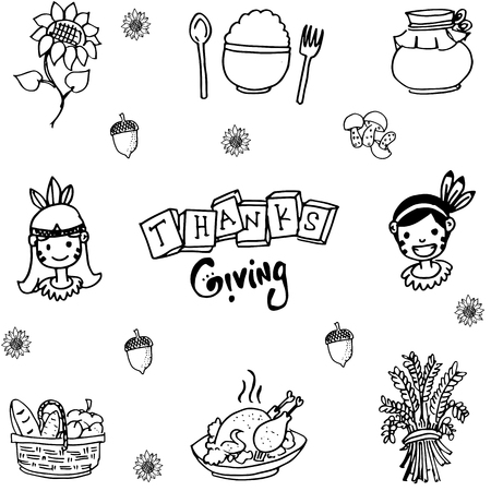 chikens: Doodle of Thanksgiving flat hand draw illustration
