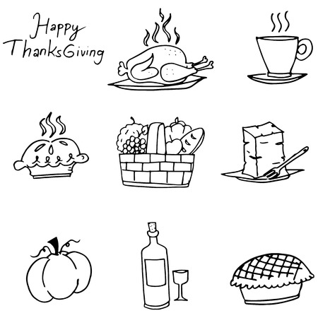 chikens: Doodle of Thanksgiving element party vector with hand draw