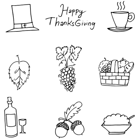 chikens: Thanksgiving flat hand draw fruit in doodle vector