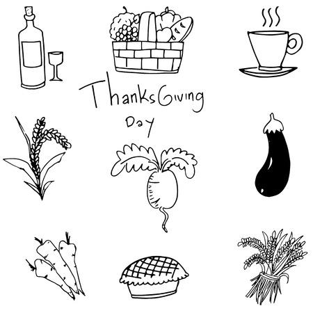 chikens: Doodle of vegetable set thanksgiving vector art illustration Illustration