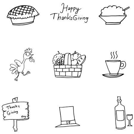 chikens: Doodle of Thanksgiving turkey fruit vector art