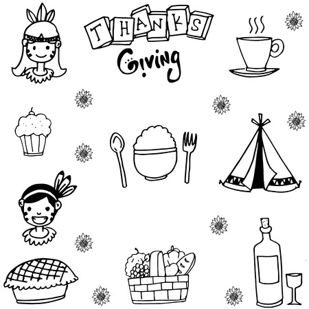 chikens: Element thanksgiving flat in doodle vector art