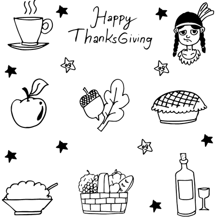 chikens: Thanksgiving flat hand draw in doodle illustration