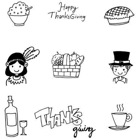 chikens: Doodle of Thanksgiving flat hand draw vector art Illustration