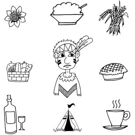 chikens: Thanksgiving black white in doodle vector art Illustration