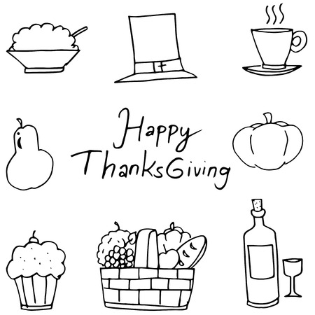 chikens: Doodle of fruit element Thanksgiving vector art