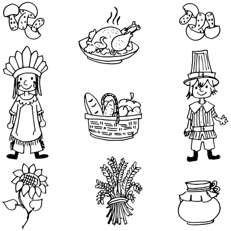 chikens: Doodle of Thanksgiving food and people illustration