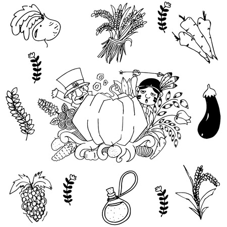 chikens: Vegetable in doodle art Thanksgiving
