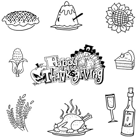 chikens: Doodle of Thanksgiving fruit vegetable food vector
