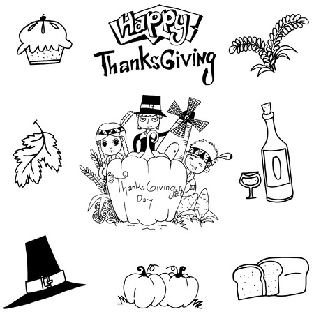 chikens: Thanksgiving element doodle art with hand draw