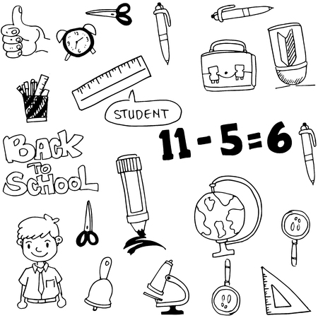 art back: vector art back to school doodles on white backgrounds