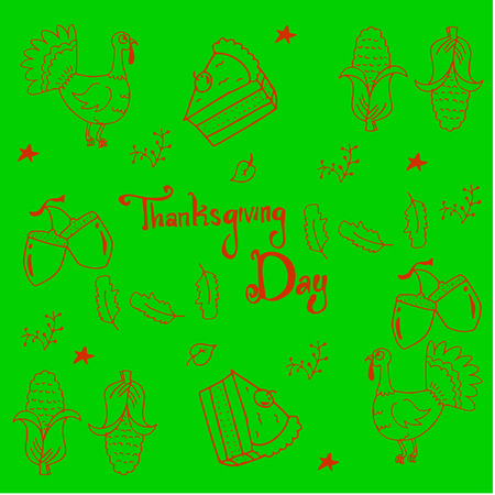 genus: Thankgiving vegetable in doodle on green background vector Illustration