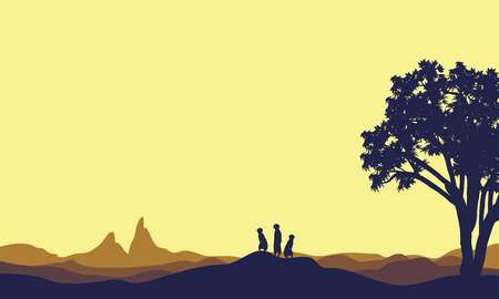 Meerkat at afternoon landscape silhouette beautiful vector Stock Illustratie