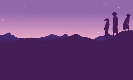 illsutration: At night meerkat landscape silhouette vector illsutration