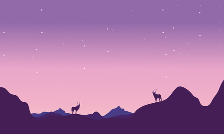 At night antelope in hill landscape silhouette vector