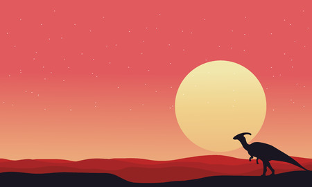At afternoon Parasaurolophus landscape silhouettes vector illustration  イラスト・ベクター素材