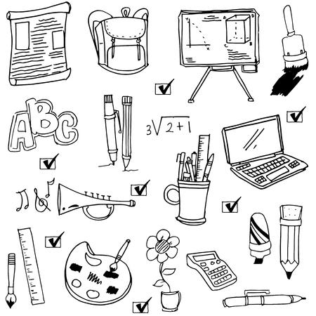 school computer: Cute hand draw school object doodles