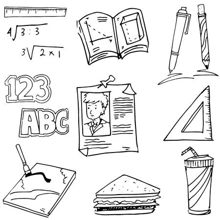 pen on paper: Doodle of Element school book pen paper illustration
