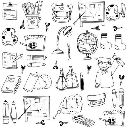 book bag: School education doodles element pencil book bag Illustration