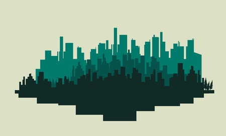 big scenery: Big city silhouettes scenery vector art illustration