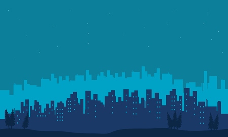 big scenery: Big city scenery silhouettes on blue backgrounds