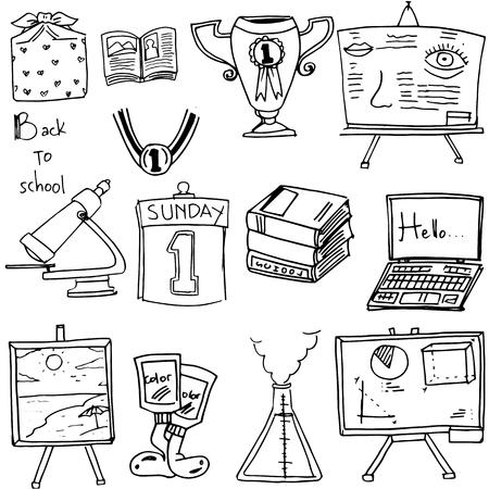 classroom supplies: Back to school classroom supplies doodles illustration