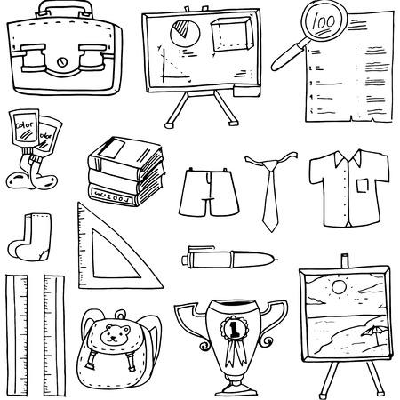 classroom supplies: Doodle of classroom supplies vector art illustration Illustration