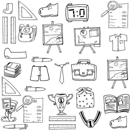 classroom supplies: Shcool object doodles classroom supplies vector art Illustration