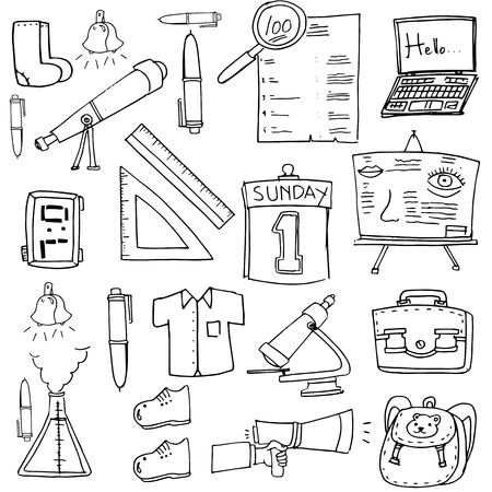 classroom supplies: Classroom supplies doodles school education vector art
