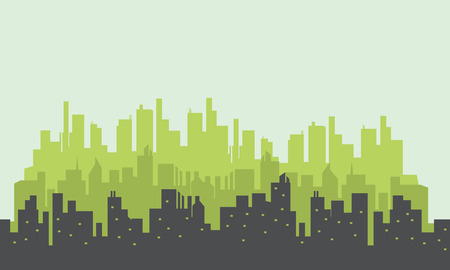 building silhouette: Many building silhouettes scenery vector art collection stock