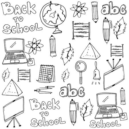 classroom supplies: School tools classroom supplies in doodle illustration