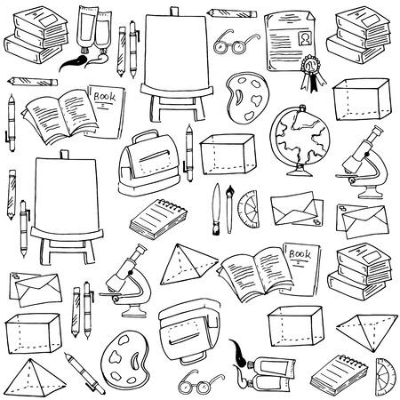 classroom supplies: Doodle of school classroom supplies vector illustration