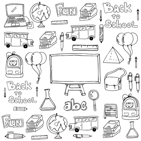 classroom supplies: Hand draw classroom supplies doodles vector illustration