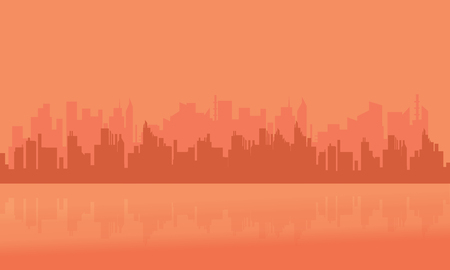 city building: Silhouette of many building city vector art
