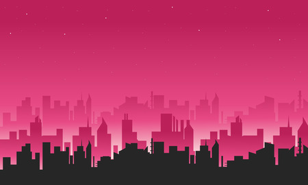 panorama city: Big city silhouettes illustration a beautiful scenery Illustration