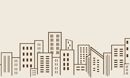 city building: Big city many building silhouettes vector illustration