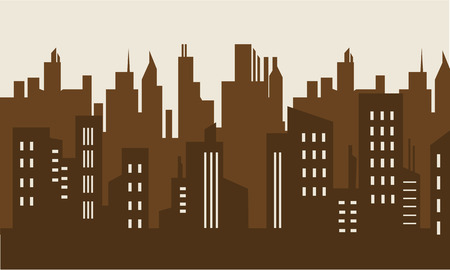 brown backgrounds: Brown backgrounds building silhouette collection stock illustration