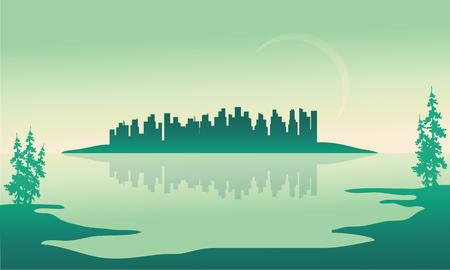 Beautiful urban scenery in the island silhouettes illustration Illustration