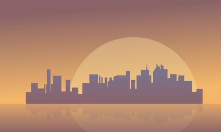illustraion: Silhouette of buildings and big moon vector illustraion