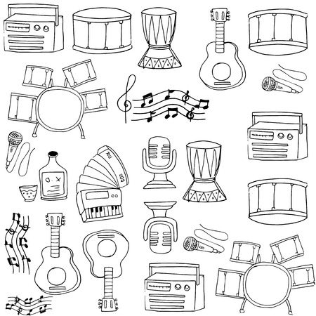 Doodle of music on white backgrounds Иллюстрация