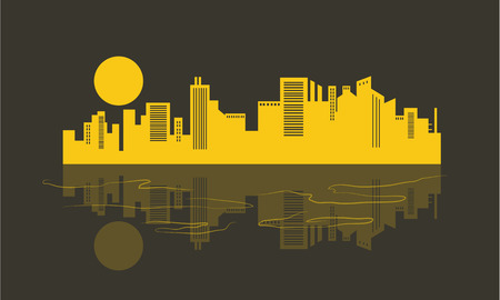 Silhouette of building and reflection vector illustration Illustration