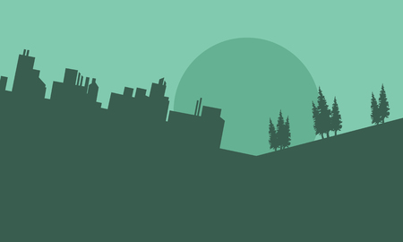 building silhouette: Silhouette of beautiful urban scenery on green backgrounds Illustration